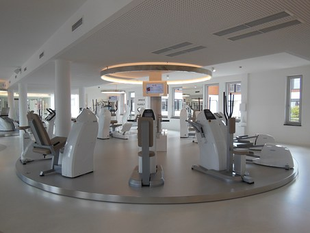 health club gym equipment treadmills and cross trainer